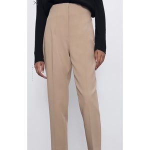 Zara NWOT High-Waisted Tan Pants
